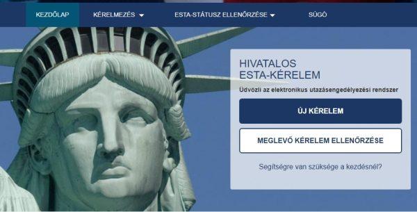 A hivatalos ESTA-oldal kezdőlapja, itt igényelhető az engedély